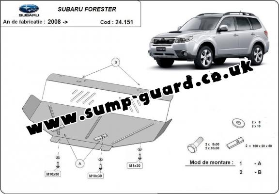 Steel sump guard for Subaru Forester 3