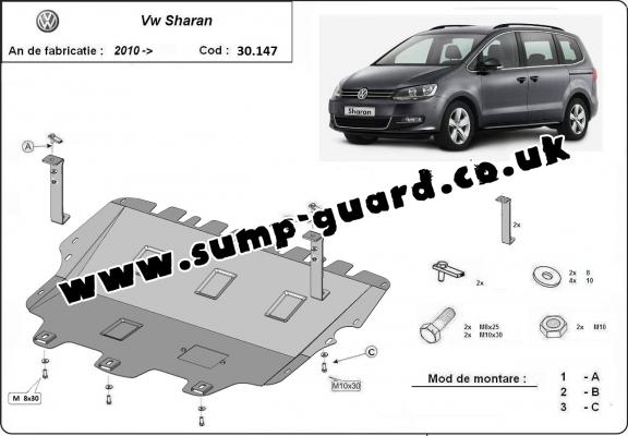 Steel sump guard for Volkswagen Sharan
