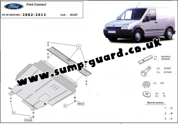 Steel sump guard for Ford Transit Connect