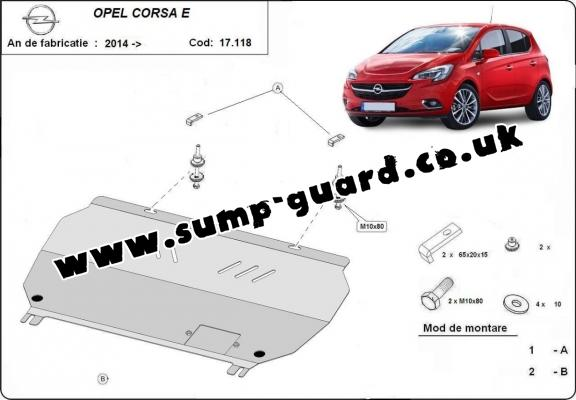 Steel sump guard for Vauxhall Corsa E