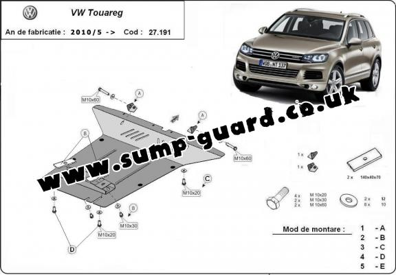 Steel sump guard for VW Touareg