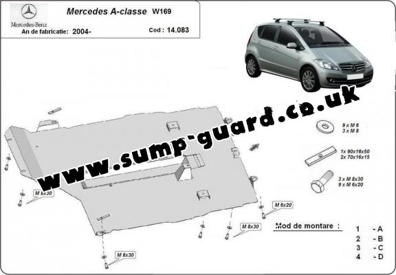 Steel sump guard for the protection of the engine, gearbox and differential for Mercedes A-Class