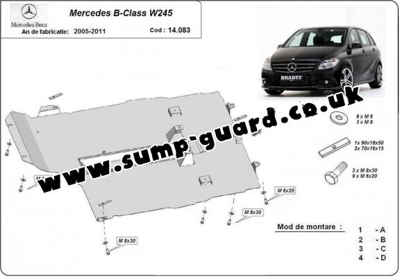 Steel sump guard for the protection of the engine and gearbox for Mercedes B-Class