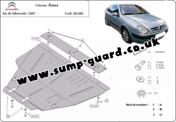 Steel sump guard for the protection of the engine and the gearbox for  Citroen Xsara