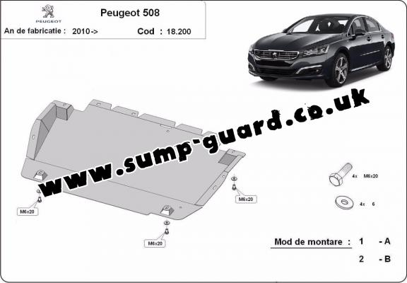 Steel sump guard for Peugeot 508