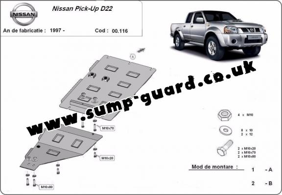 Steel gearbox guard for Nissan Pick Up
