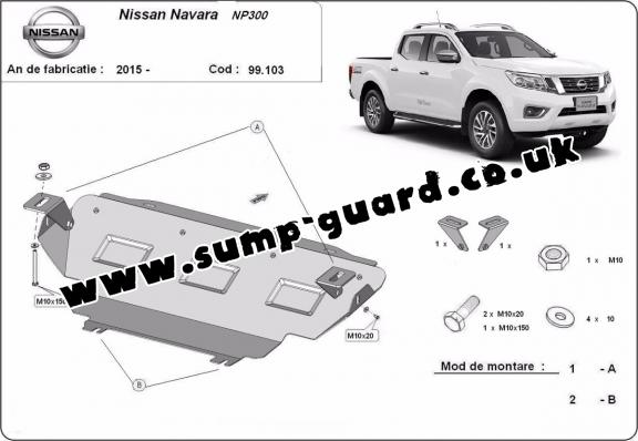 Steel radiator guard for Nissan Navara NP300