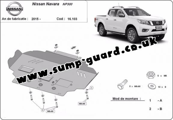 Steel sump guard for Nissan Navara NP300