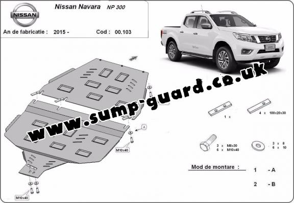 Steel gearbox guard for Nissan Navara NP300