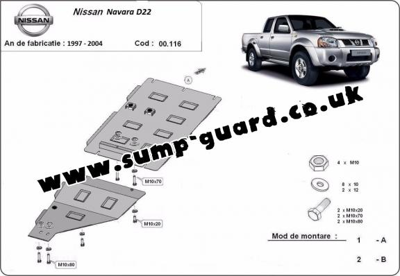 Steel gearbox guard for Nissan Navara D22