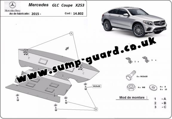 Steel sump guard for Mercedes GLC Coupe X253