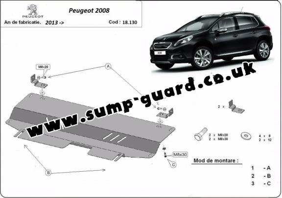 Steel sump guard for Peugeot 2008