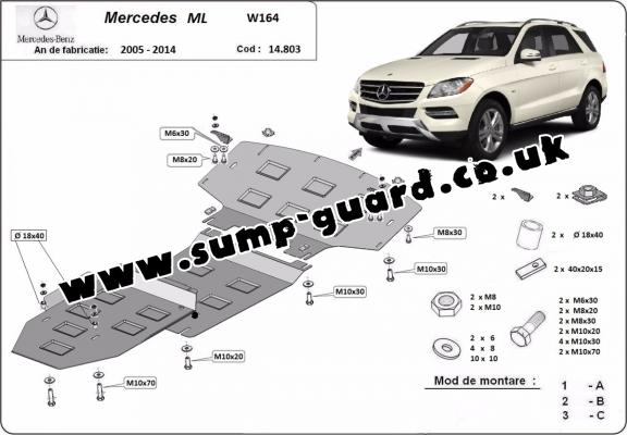 Steel sump guard for Mercedes ML W164