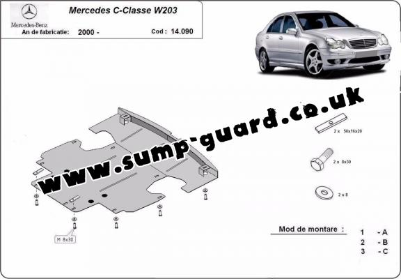 Steel sump guard for Mercedes C-Classe