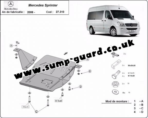 Steel sump guard for the protection of the engine and the gearbox for Mercedes Sprinter