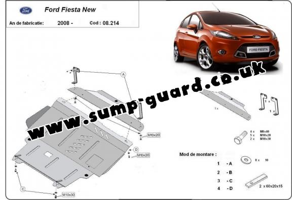 Steel sump guard for Ford Fiesta