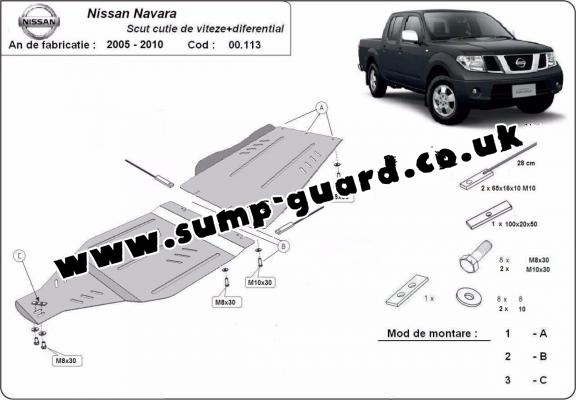 Steel gearbox and differential guard for Nissan Navara
