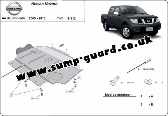 Steel sump guard for Nissan Navara