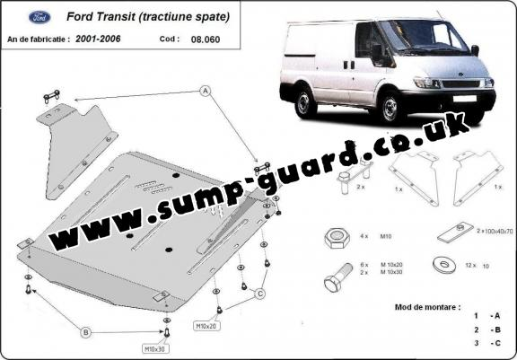 Steel sump guard for the protection of the engine and the gearbox for Ford Transit - RWD