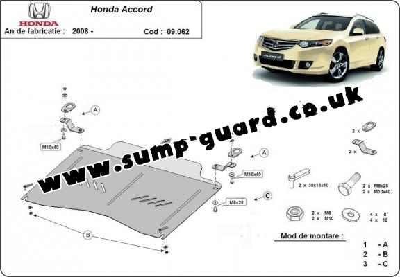Steel sump guard for the protection of the engine and the gearbox for Honda Accord