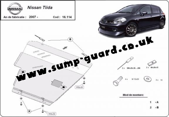 Steel sump guard for Nissan Tiida