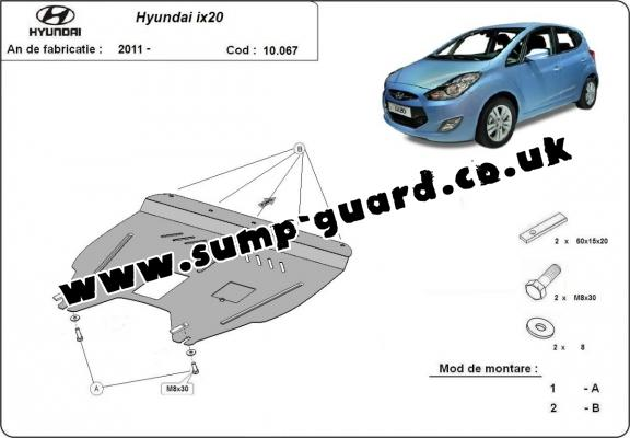 Steel sump guard for Hyundai ix20