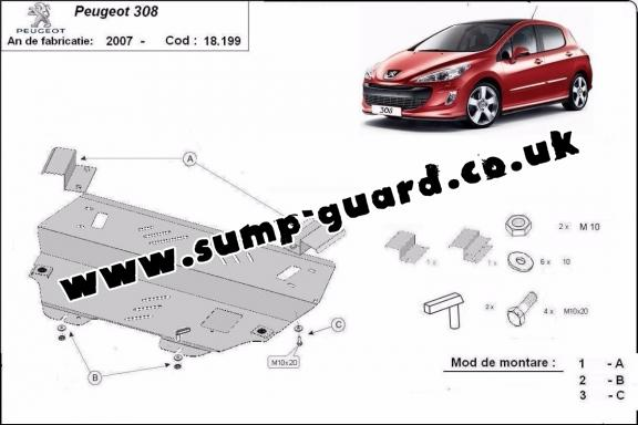 Steel sump guard for Peugeot 308