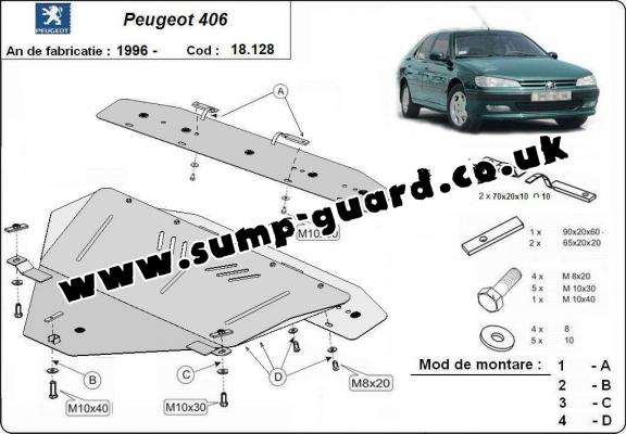Steel sump guard for the protection of the engine and the gearbox for Peugeot 406