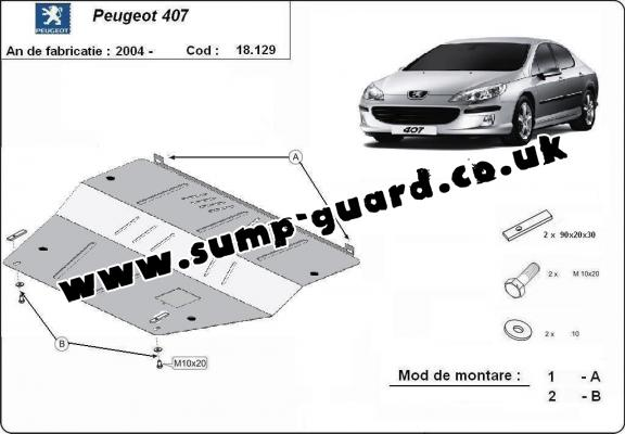 Steel sump guard for Peugeot 407