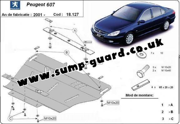 Steel sump guard for Peugeot 607