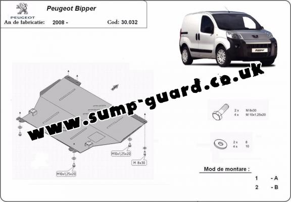 Steel sump guard for Peugeot Bipper