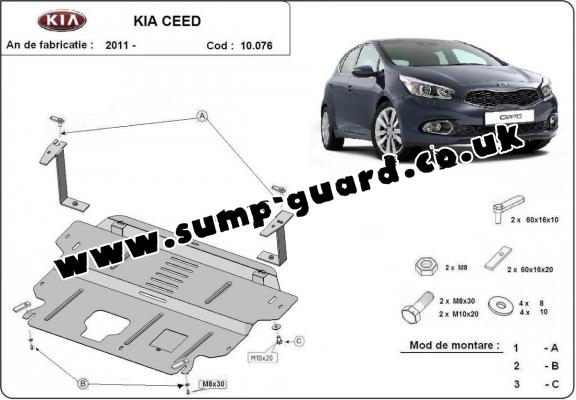 Steel sump guard for the protection of the engine and the gearbox for Kia Ceed