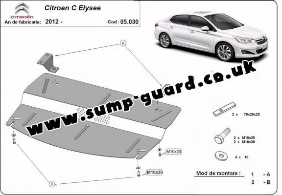 Steel sump guard for the protection of the engine and the gearbox for Citroen C-Elysee