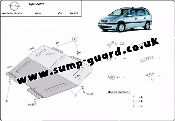 Steel sump guard for Vauxhall Zafira