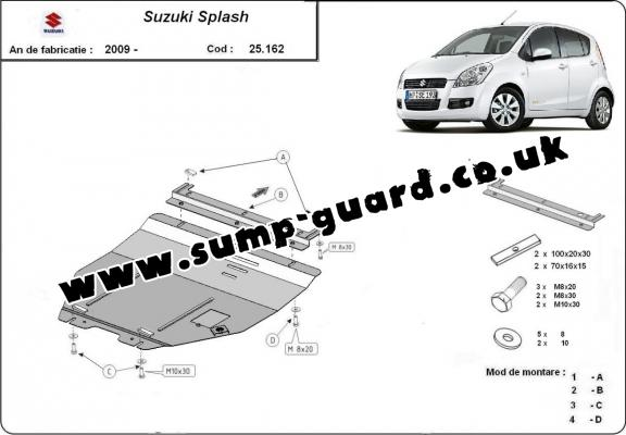 Steel sump guard for Suzuki Splash an