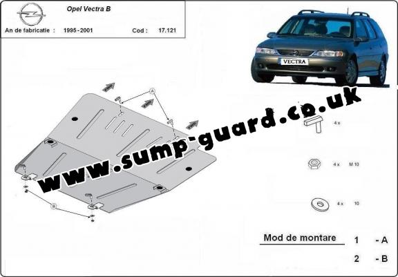 Steel sump guard for Vauxhall Vectra B