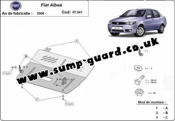 Steel sump guard for Fiat Albea