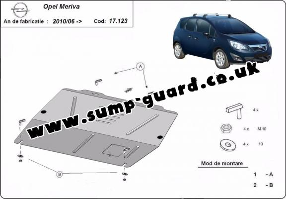 Steel sump guard for Vauxhall Meriva