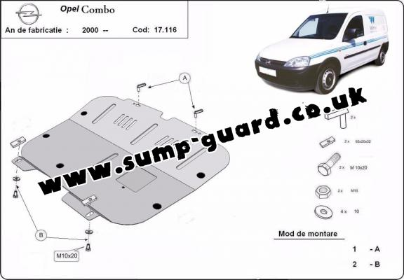 Steel sump guard for Vauxhall Combo