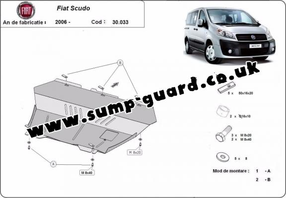 Steel sump guard for the protection of the engine and the gearbox for Fiat Scudo