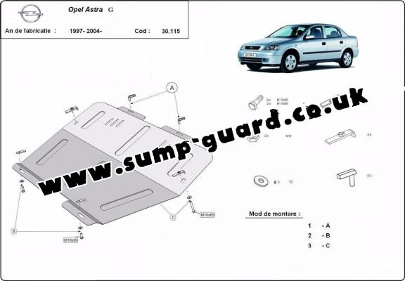 Steel sump guard for Vauxhall Astra G
