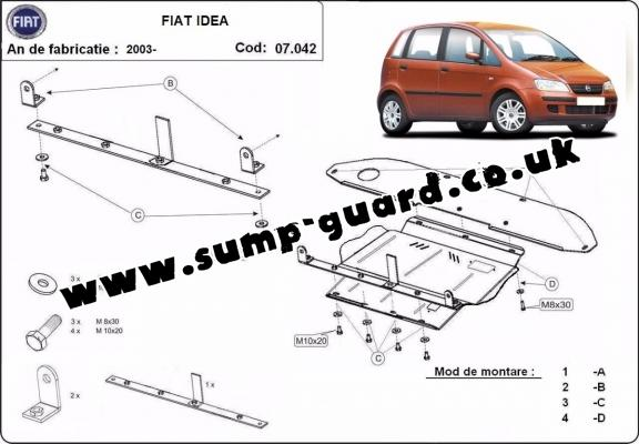 Steel sump guard for the protection of the engine, gearbox and differential for Fiat Idea