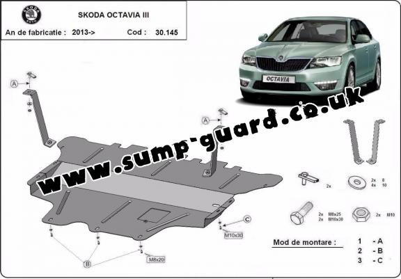 Steel sump guard for the protection of the engine and the gearbox for Skoda Octavia 3 - manual gearbox