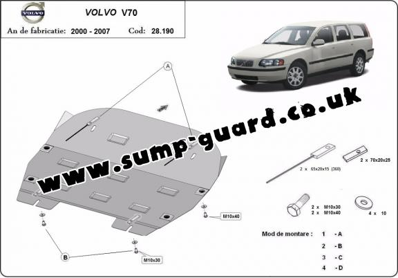 Steel sump guard for Volvo S70