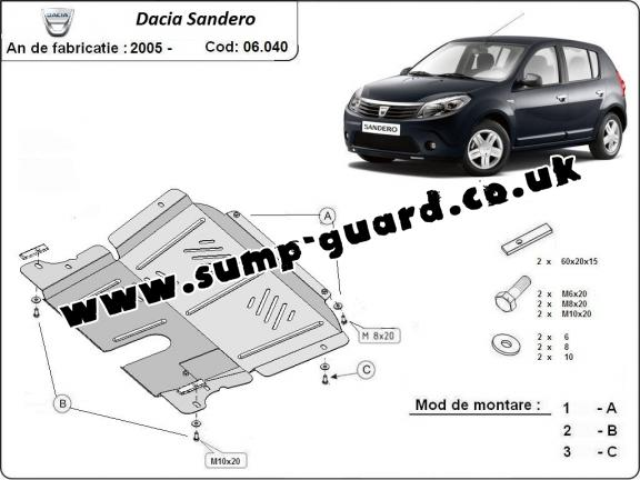 Steel sump guard for Dacia Sandero