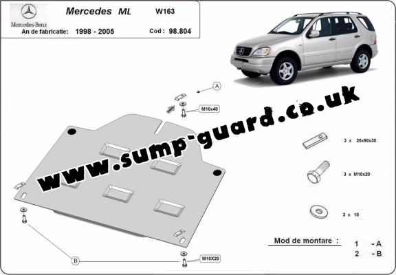 Steel diferential guard for Mercedes ML W163