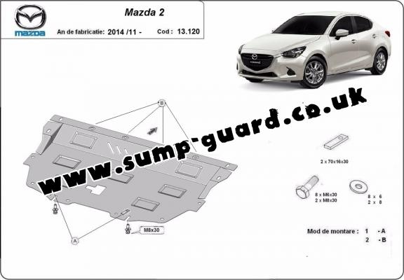 Steel sump guard for Mazda 2