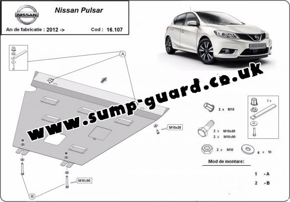 Steel sump guard for Nissan Pulsar