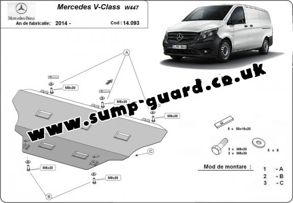 Steel sump guard for Mercedes V-Classe W447, 4x2, 1.6 D