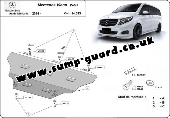 Steel sump guard for Mercedes Viano W447, 4x2, 1.6 D